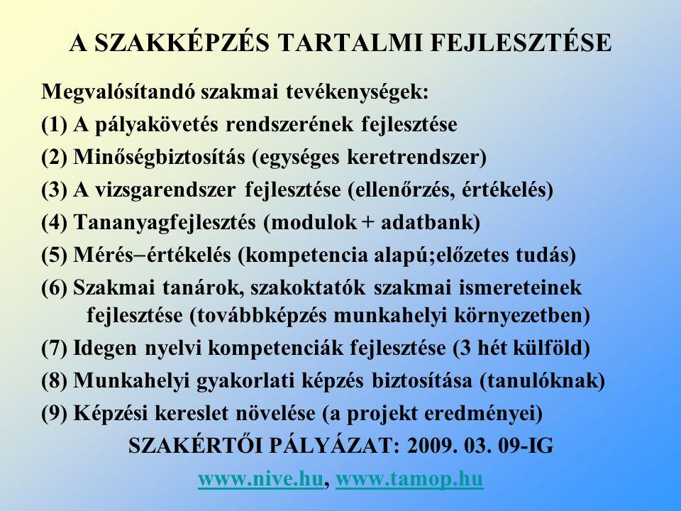 A SZAKKÉPZÉS TARTALMI FEJLESZTÉSE