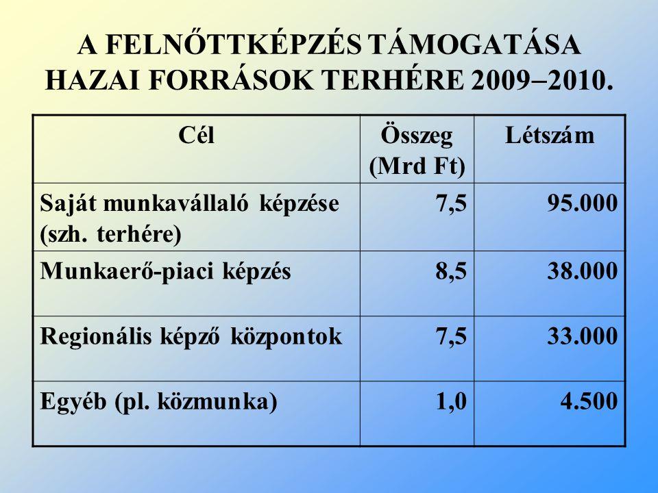 A FELNŐTTKÉPZÉS TÁMOGATÁSA HAZAI FORRÁSOK TERHÉRE 20092010.