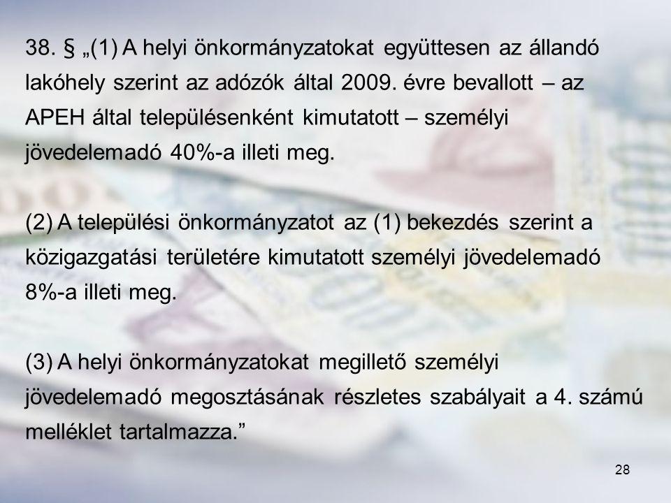 """38. § """"(1) A helyi önkormányzatokat együttesen az állandó lakóhely szerint az adózók által 2009. évre bevallott – az APEH által településenként kimutatott – személyi jövedelemadó 40%-a illeti meg."""