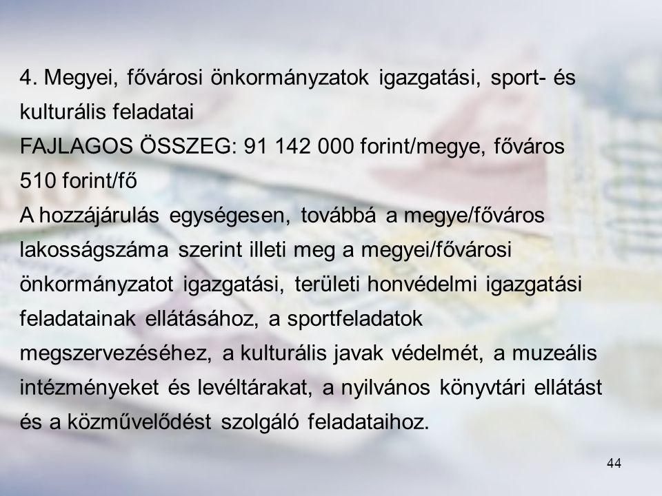 4. Megyei, fővárosi önkormányzatok igazgatási, sport- és kulturális feladatai
