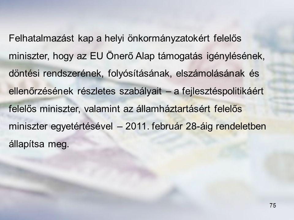 Felhatalmazást kap a helyi önkormányzatokért felelős miniszter, hogy az EU Önerő Alap támogatás igénylésének, döntési rendszerének, folyósításának, elszámolásának és ellenőrzésének részletes szabályait – a fejlesztéspolitikáért felelős miniszter, valamint az államháztartásért felelős miniszter egyetértésével – 2011.