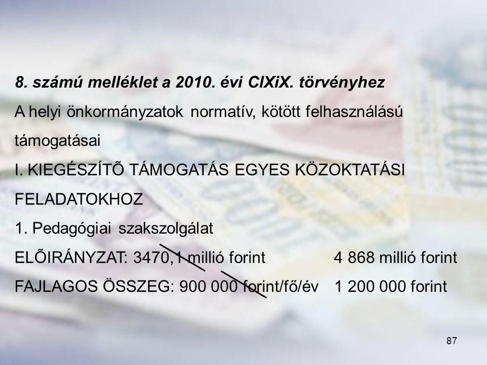 8. számú melléklet a 2010. évi ClXiX. törvényhez