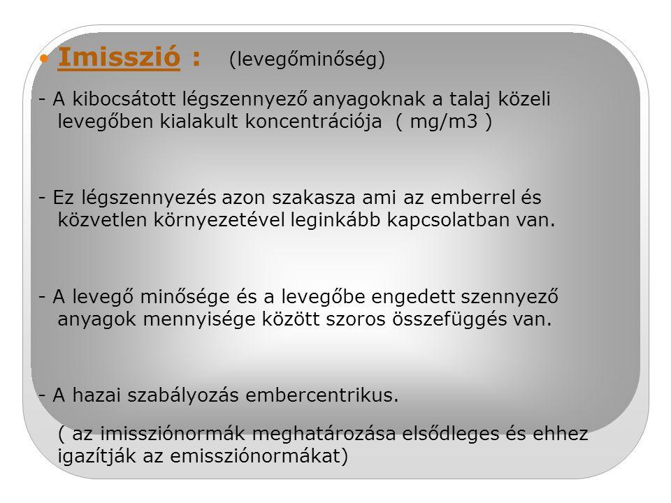 Imisszió : (levegőminőség)