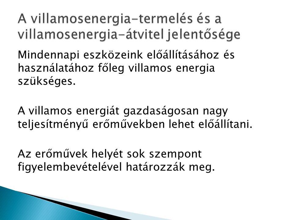 A villamosenergia-termelés és a villamosenergia-átvitel jelentősége