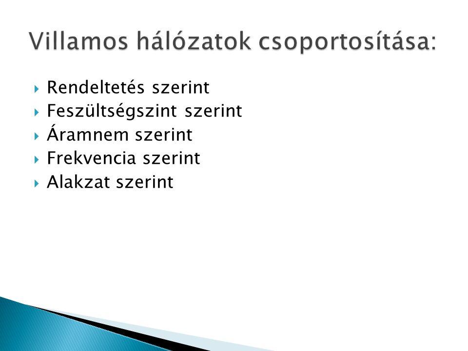 Villamos hálózatok csoportosítása: