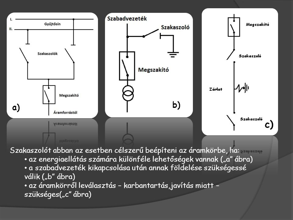 """b) a) c) Szakaszolót abban az esetben célszerű beépíteni az áramkörbe, ha: az energiaellátás számára különféle lehetőségek vannak (""""a ábra)"""