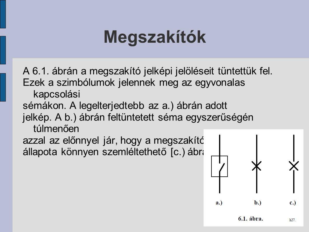 Megszakítók A 6.1. ábrán a megszakító jelképi jelöléseit tüntettük fel. Ezek a szimbólumok jelennek meg az egyvonalas kapcsolási.