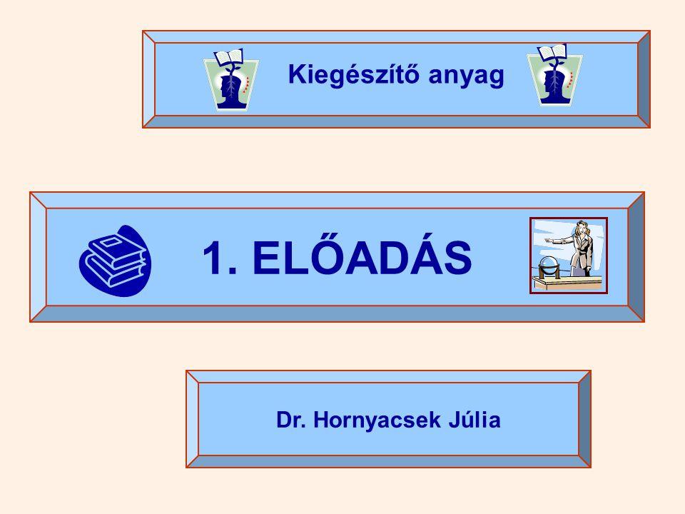 Kiegészítő anyag 1. ELŐADÁS Dr. Hornyacsek Júlia