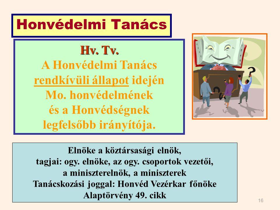 Honvédelmi Tanács Hv. Tv. A Honvédelmi Tanács
