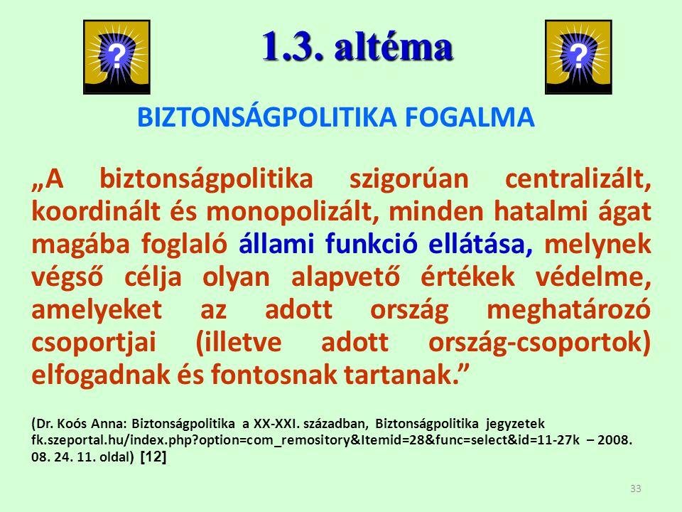 BIZTONSÁGPOLITIKA FOGALMA