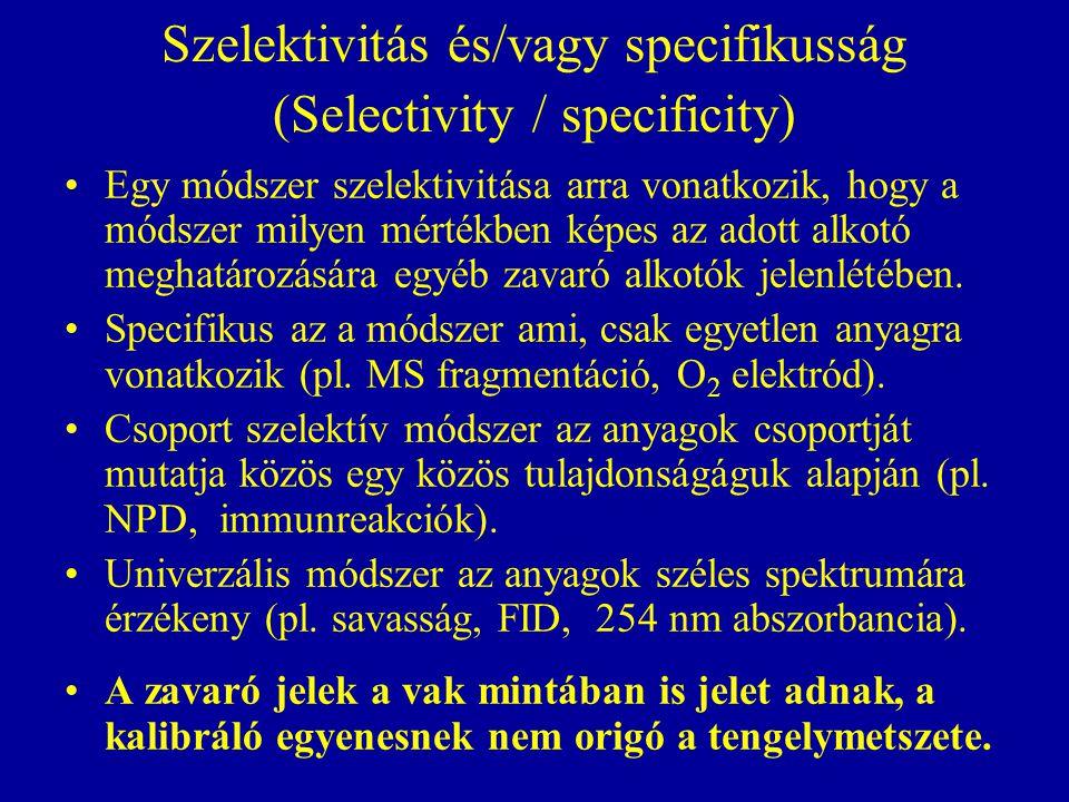 Szelektivitás és/vagy specifikusság (Selectivity / specificity)