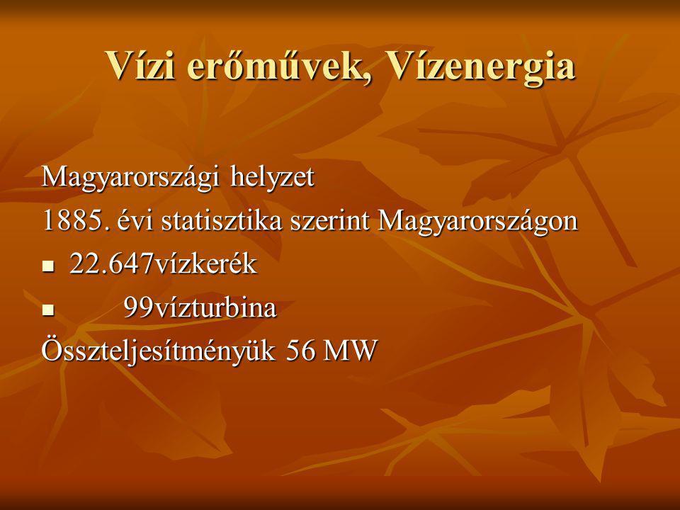 Vízi erőművek, Vízenergia