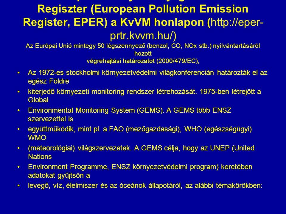 Az Európai Szennyezőanyag Kibocsátási Regiszter (European Pollution Emission Register, EPER) a KvVM honlapon (http://eper-prtr.kvvm.hu/) Az Európai Unió mintegy 50 légszennyező (benzol, CO, NOx stb.) nyilvántartásáról hozott végrehajtási határozatot (2000/479/EC),