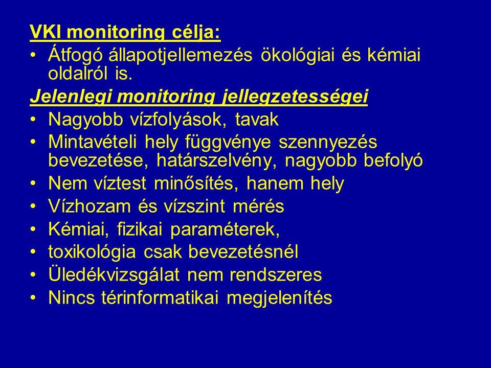 VKI monitoring célja: Átfogó állapotjellemezés ökológiai és kémiai oldalról is. Jelenlegi monitoring jellegzetességei.