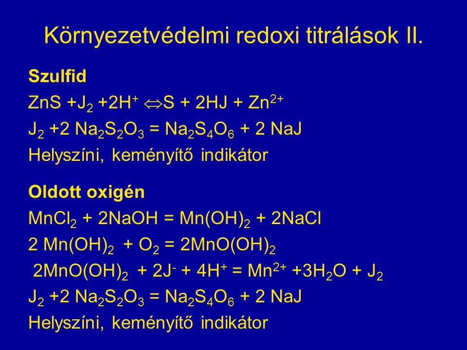 Környezetvédelmi redoxi titrálások II.