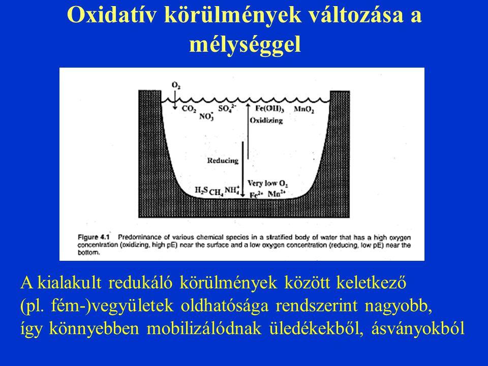 Oxidatív körülmények változása a mélységgel
