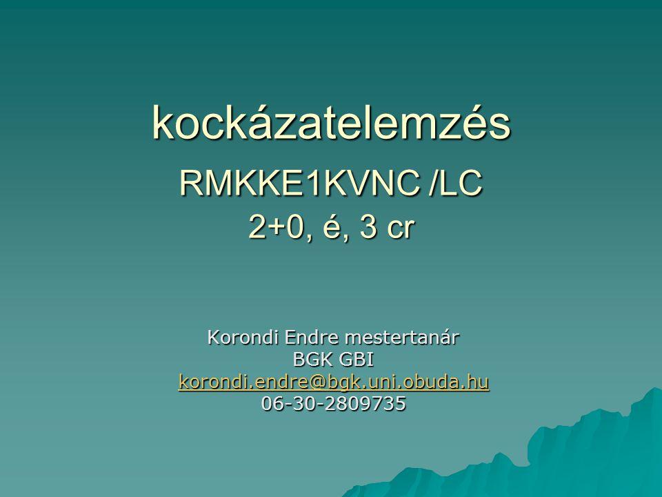 kockázatelemzés RMKKE1KVNC /LC 2+0, é, 3 cr