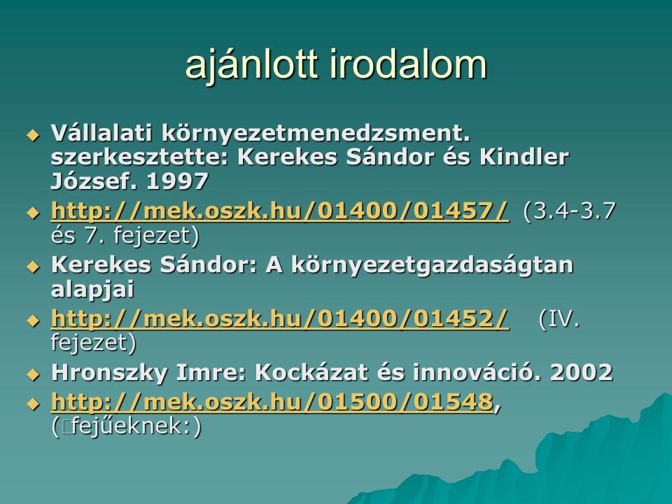 ajánlott irodalom Vállalati környezetmenedzsment. szerkesztette: Kerekes Sándor és Kindler József. 1997.