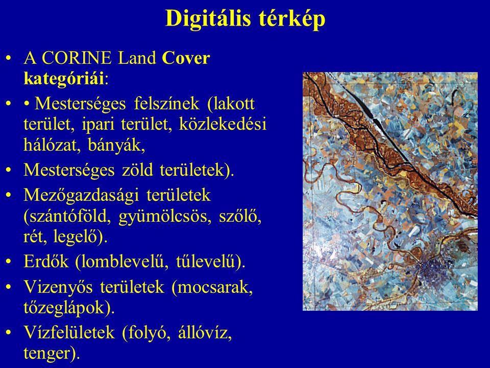 Digitális térkép A CORINE Land Cover kategóriái: