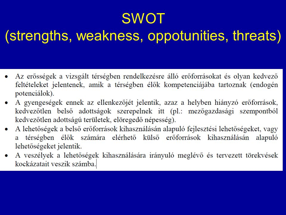 SWOT (strengths, weakness, oppotunities, threats)