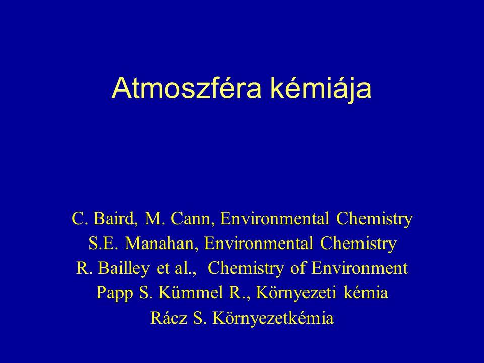 Atmoszféra kémiája C. Baird, M. Cann, Environmental Chemistry