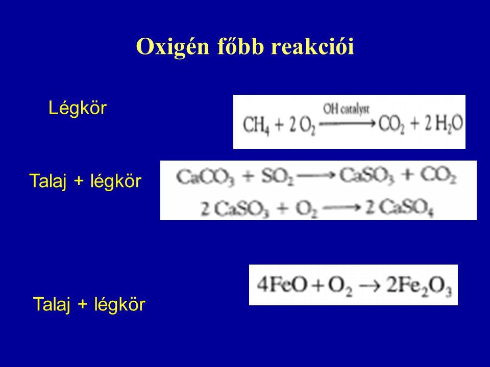 Oxigén főbb reakciói Légkör Talaj + légkör Talaj + légkör