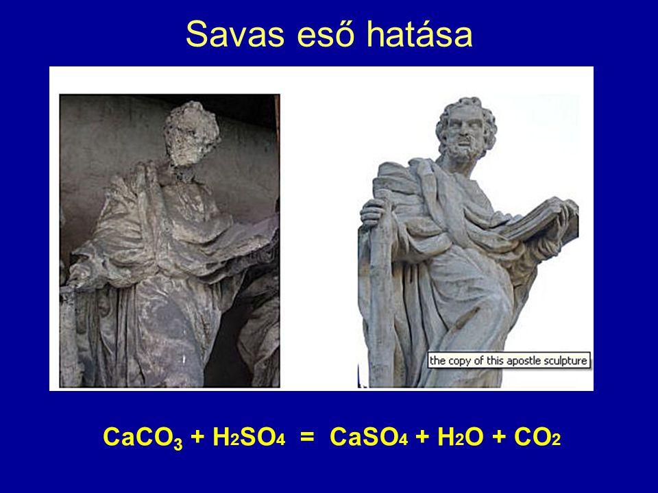 Savas eső hatása CaCO3 + H2SO4 = CaSO4 + H2O + CO2