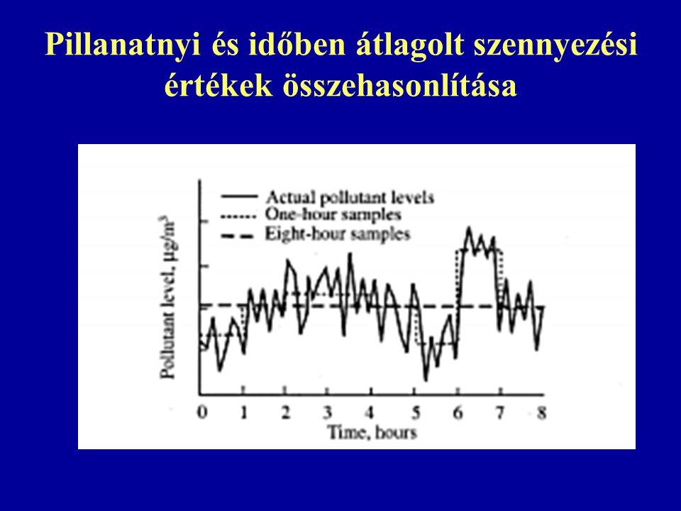 Pillanatnyi és időben átlagolt szennyezési értékek összehasonlítása