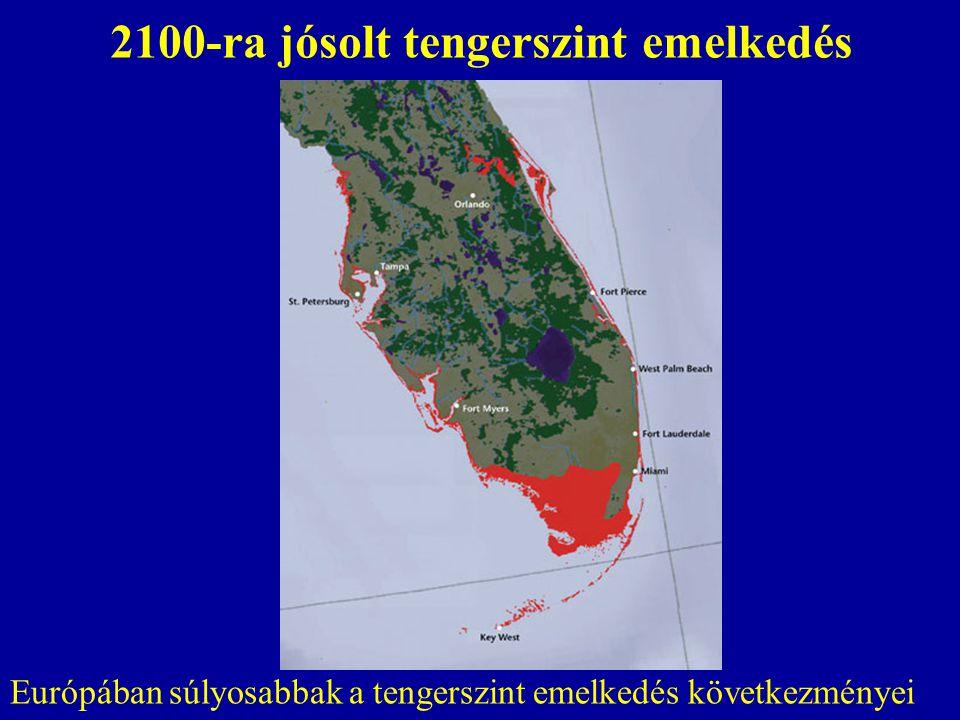 2100-ra jósolt tengerszint emelkedés