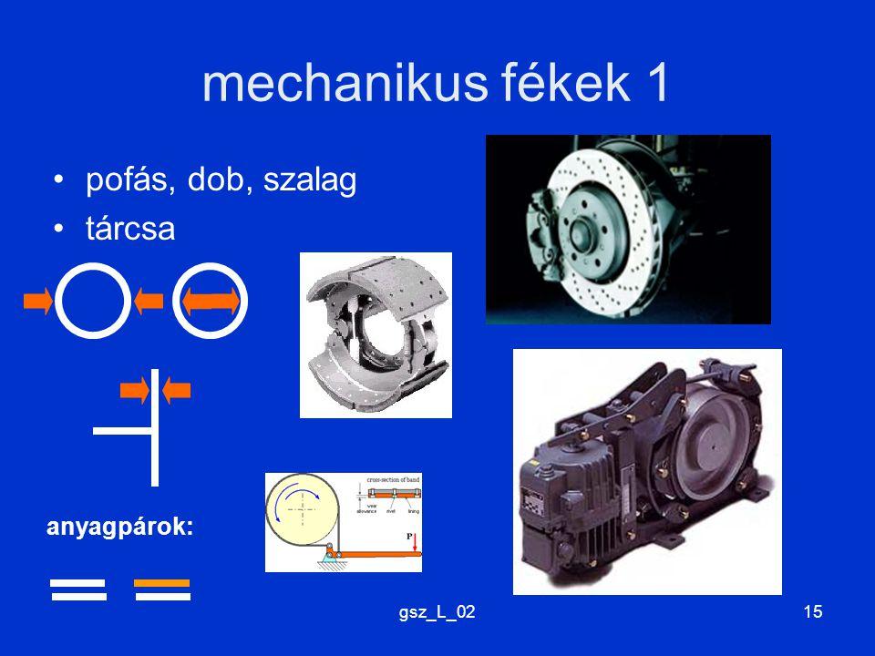 mechanikus fékek 1 pofás, dob, szalag tárcsa anyagpárok: gsz_L_02