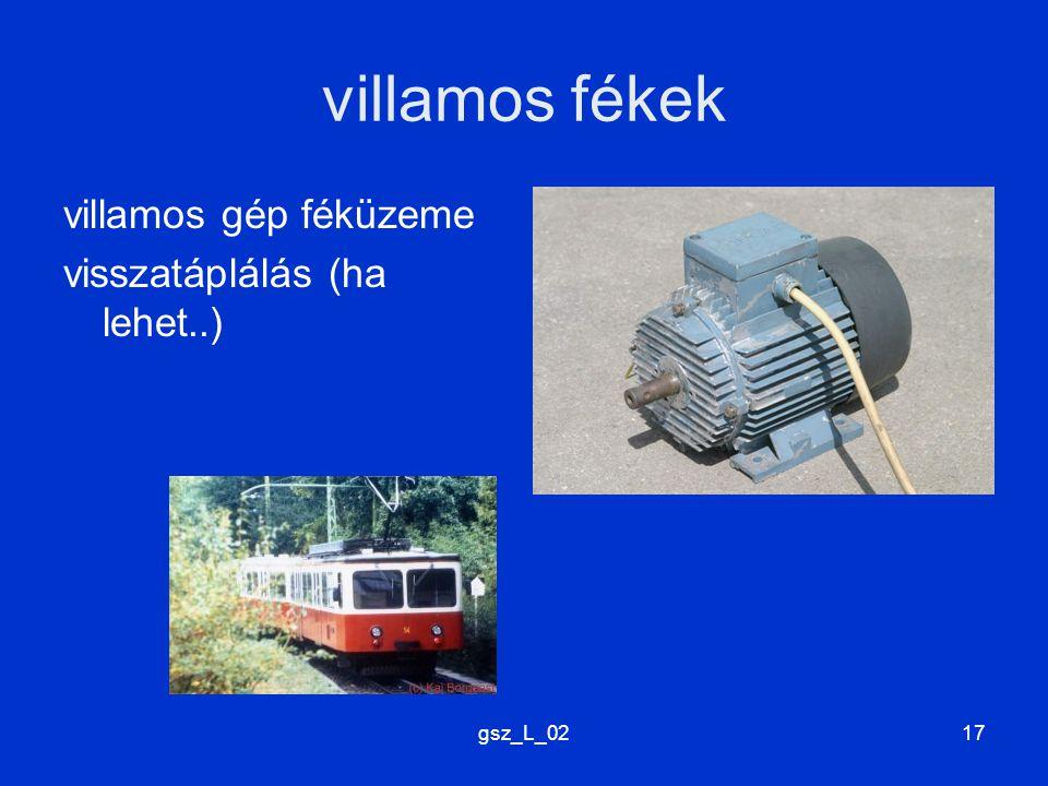 villamos fékek villamos gép féküzeme visszatáplálás (ha lehet..)