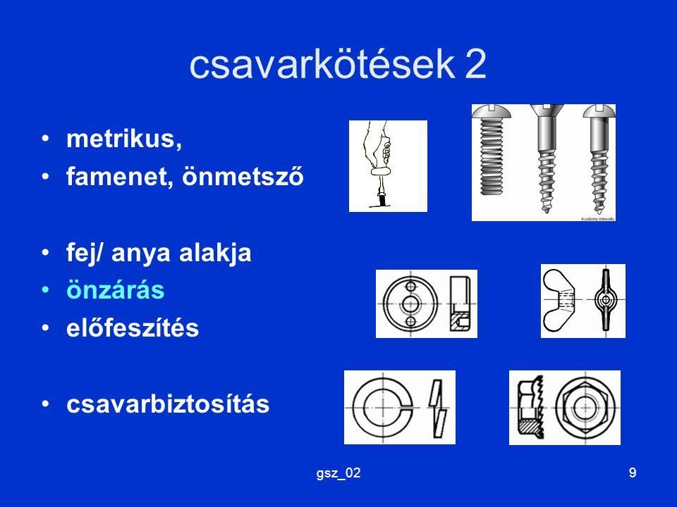 csavarkötések 2 metrikus, famenet, önmetsző fej/ anya alakja önzárás