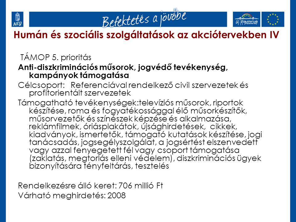 Humán és szociális szolgáltatások az akciótervekben IV