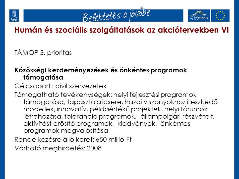 Humán és szociális szolgáltatások az akciótervekben VI