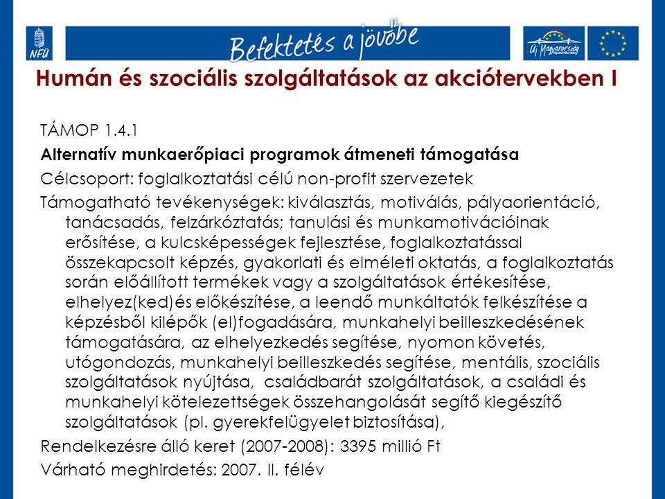 Humán és szociális szolgáltatások az akciótervekben I