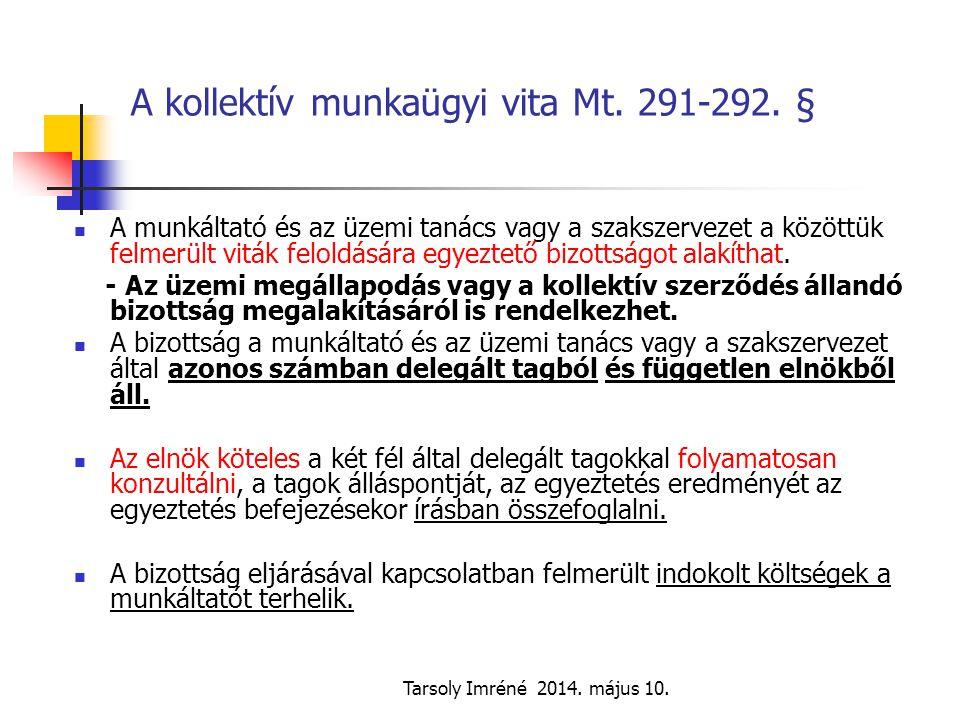 A kollektív munkaügyi vita Mt. 291-292. §