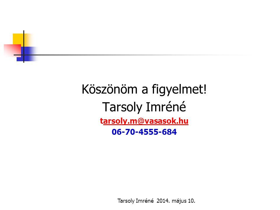 Köszönöm a figyelmet! Tarsoly Imréné tarsoly.m@vasasok.hu