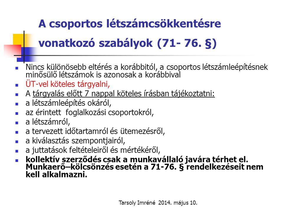 A csoportos létszámcsökkentésre vonatkozó szabályok (71- 76. §)