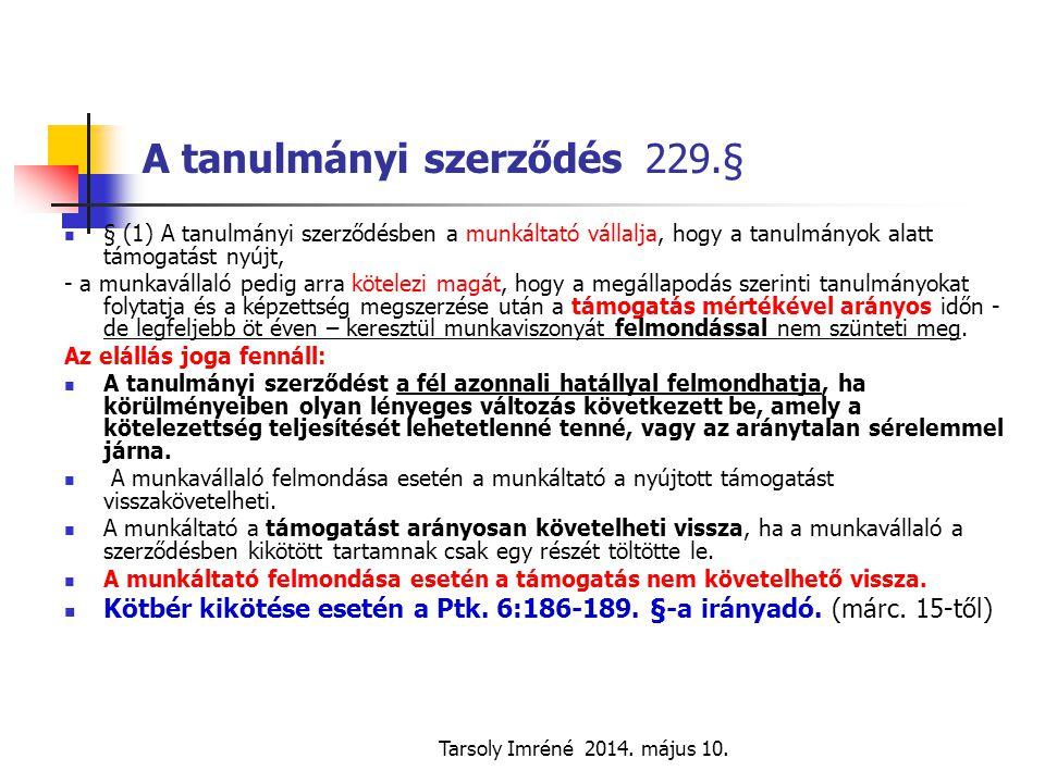 A tanulmányi szerződés 229.§