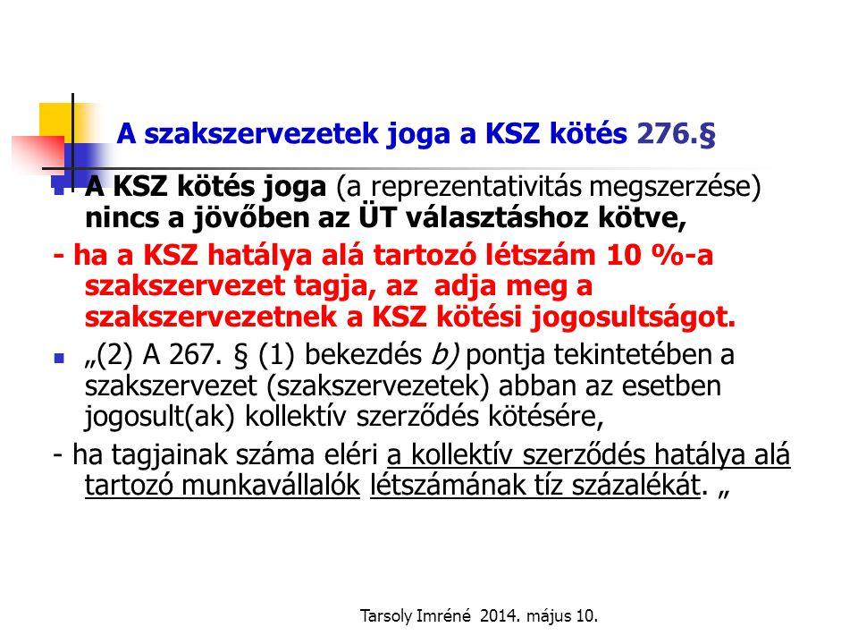 A szakszervezetek joga a KSZ kötés 276.§