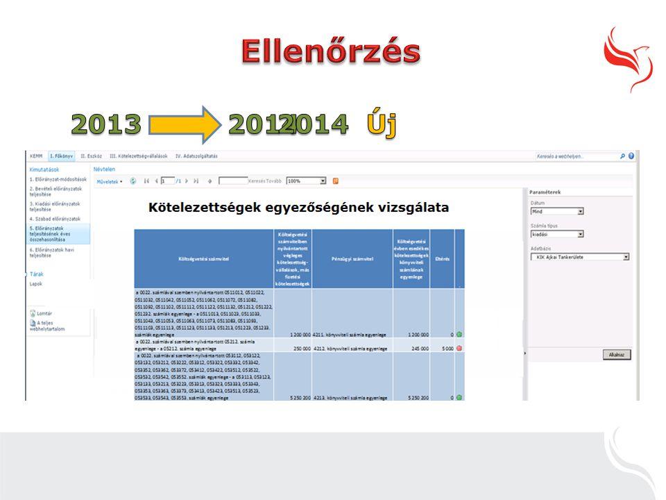 Ellenőrzés 2013 2014 2014 Új