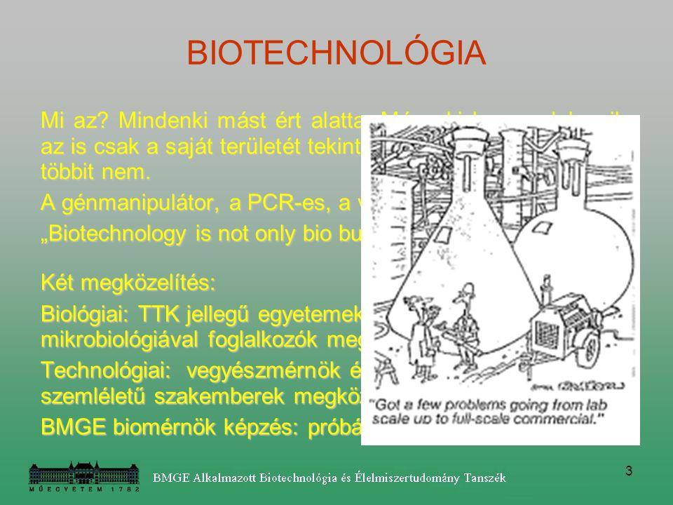 BIOTECHNOLÓGIA Mi az Mindenki mást ért alatta. Még aki benne dolgozik, az is csak a saját területét tekinti igazi biotechnológiának, a többit nem.