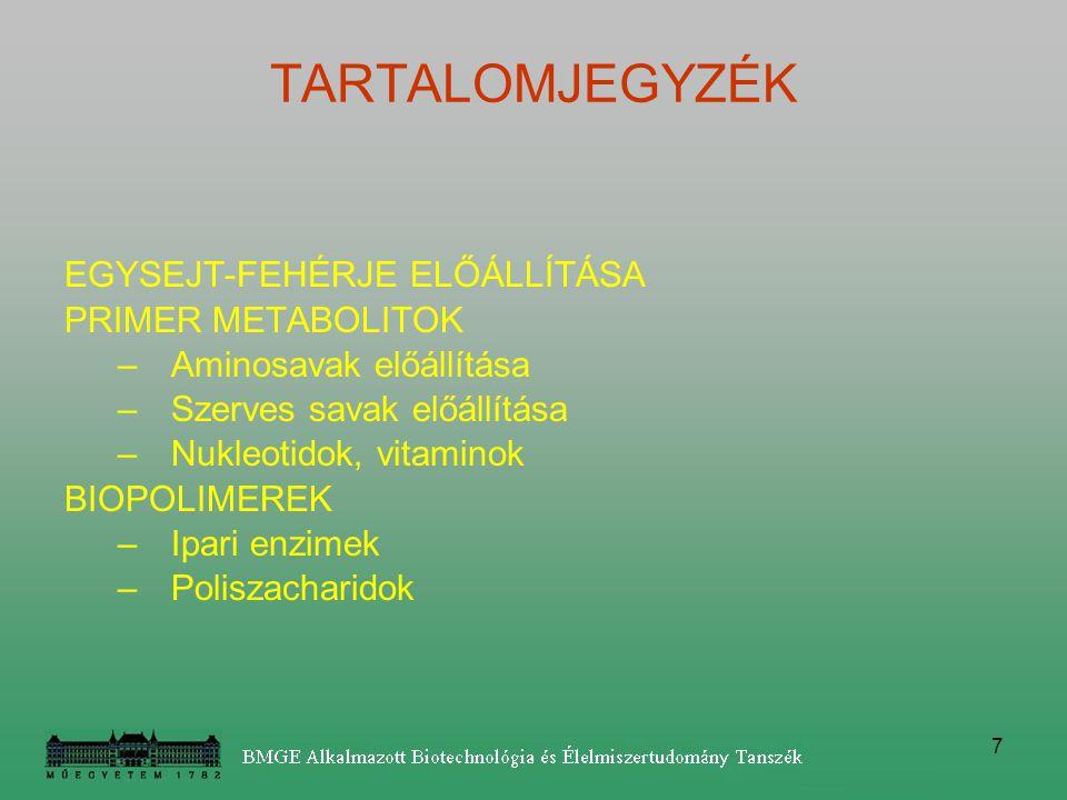 TARTALOMJEGYZÉK EGYSEJT-FEHÉRJE ELŐÁLLÍTÁSA PRIMER METABOLITOK