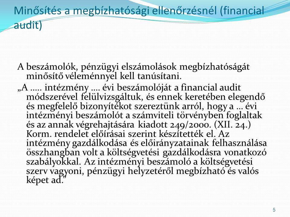 Minősítés a megbízhatósági ellenőrzésnél (financial audit)
