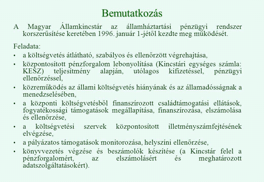 Bemutatkozás A Magyar Államkincstár az államháztartási pénzügyi rendszer korszerűsítése keretében 1996. január 1-jétől kezdte meg működését.