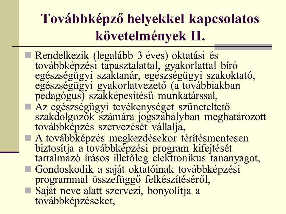 Továbbképző helyekkel kapcsolatos követelmények II.