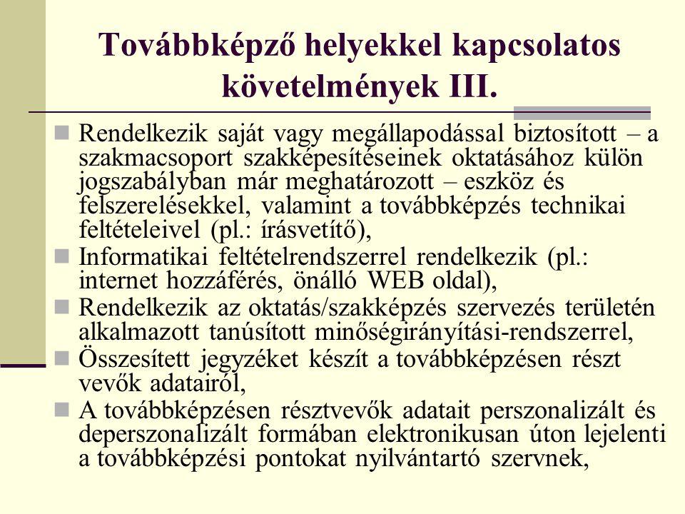 Továbbképző helyekkel kapcsolatos követelmények III.