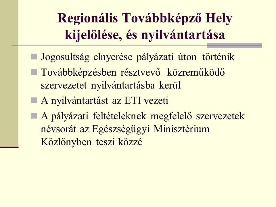 Regionális Továbbképző Hely kijelölése, és nyilvántartása