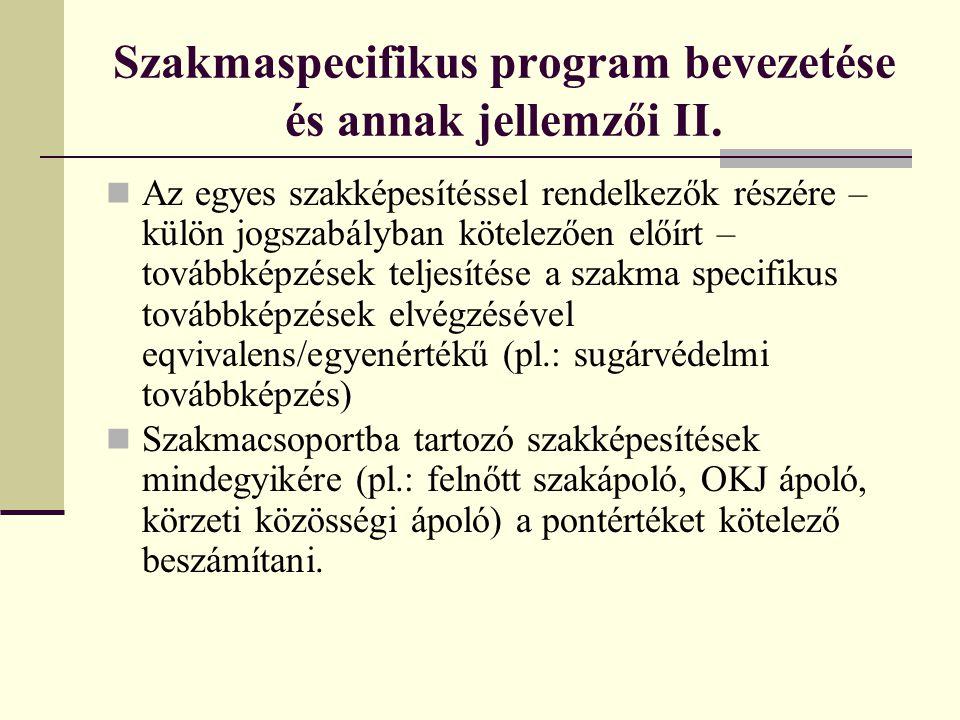 Szakmaspecifikus program bevezetése és annak jellemzői II.