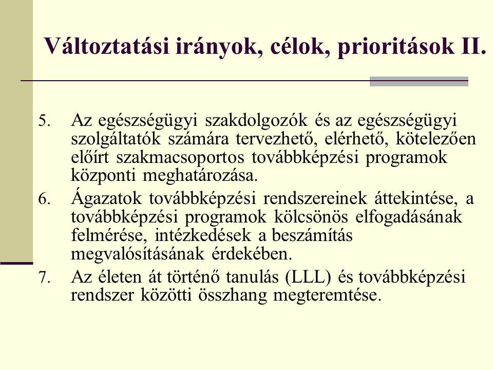 Változtatási irányok, célok, prioritások II.